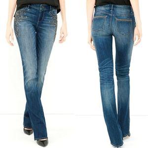 NWOT- White | Black Embellished Boot Cut Jeans